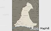 Shaded Relief Map of Neembucu, darken