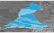 Political Shades Panoramic Map of Neembucu, darken, desaturated