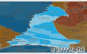 Political Shades Panoramic Map of Neembucu, darken
