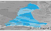 Political Shades Panoramic Map of Neembucu, desaturated