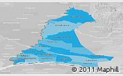 Political Shades Panoramic Map of Neembucu, lighten, desaturated