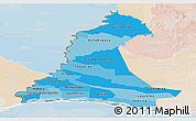 Political Shades Panoramic Map of Neembucu, lighten