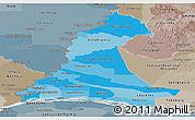 Political Shades Panoramic Map of Neembucu, semi-desaturated