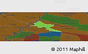 Political Panoramic Map of Pilar, darken