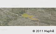 Satellite Panoramic Map of Pilar, semi-desaturated