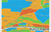 Physical Panoramic Map of Rio Parana, political outside