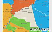 Shaded Relief Map of San Juan Bta. del Neembuc, political outside