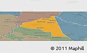 Political Panoramic Map of San Juan Bta. del Neembuc, semi-desaturated