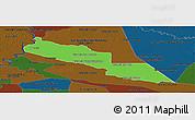 Political Panoramic Map of Tacuaras, darken