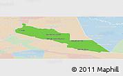 Political Panoramic Map of Tacuaras, lighten
