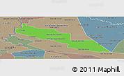 Political Panoramic Map of Tacuaras, semi-desaturated