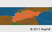 Political Panoramic Map of Villa Franca, darken