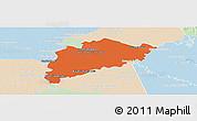 Political Panoramic Map of Villa Franca, lighten