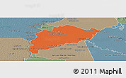 Political Panoramic Map of Villa Franca, semi-desaturated