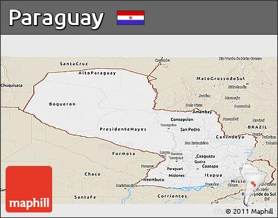 Classic Style Panoramic Map of Paraguay