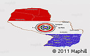Flag Panoramic Map of Paraguay, flag centered