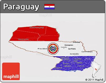 Flag Panoramic Map of Paraguay