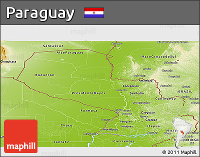 Physical Panoramic Map of Paraguay