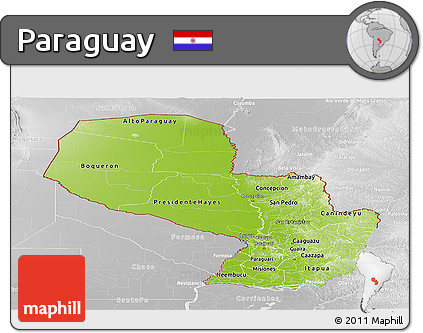 Physical Panoramic Map of Paraguay, lighten, desaturated