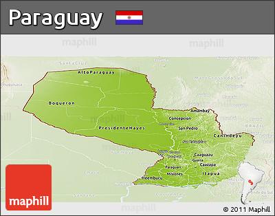 Physical Panoramic Map of Paraguay, lighten