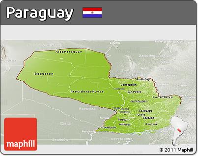 Physical Panoramic Map of Paraguay, lighten, semi-desaturated