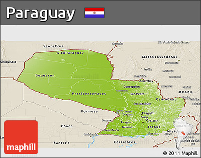 Physical Panoramic Map of Paraguay, shaded relief outside
