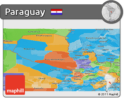 Political Panoramic Map of Paraguay