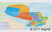 Political Panoramic Map of Paraguay, lighten