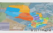 Political Panoramic Map of Paraguay, semi-desaturated