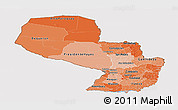 Political Shades Panoramic Map of Paraguay, cropped outside