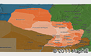 Political Shades Panoramic Map of Paraguay, darken