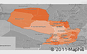 Political Shades Panoramic Map of Paraguay, desaturated