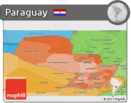 Political Shades Panoramic Map of Paraguay
