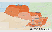 Political Shades Panoramic Map of Paraguay, lighten