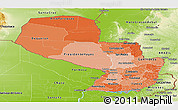 Political Shades Panoramic Map of Paraguay, physical outside