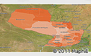 Political Shades Panoramic Map of Paraguay, satellite outside