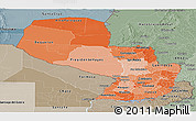 Political Shades Panoramic Map of Paraguay, semi-desaturated