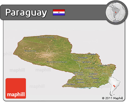 Satellite Panoramic Map of Paraguay, cropped outside