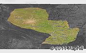 Satellite Panoramic Map of Paraguay, darken, desaturated