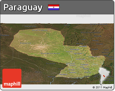 Satellite Panoramic Map of Paraguay, darken