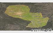 Satellite Panoramic Map of Paraguay, darken, semi-desaturated