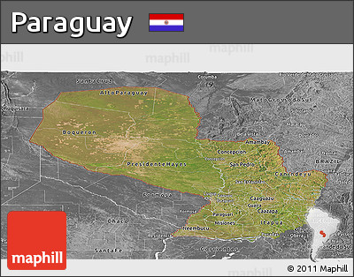 Satellite Panoramic Map of Paraguay, desaturated