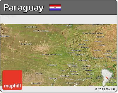 Satellite Panoramic Map of Paraguay