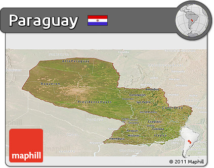Satellite Panoramic Map of Paraguay, lighten