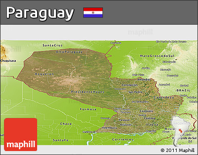 Satellite Panoramic Map of Paraguay, physical outside
