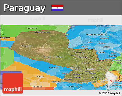 Satellite Panoramic Map of Paraguay, political outside