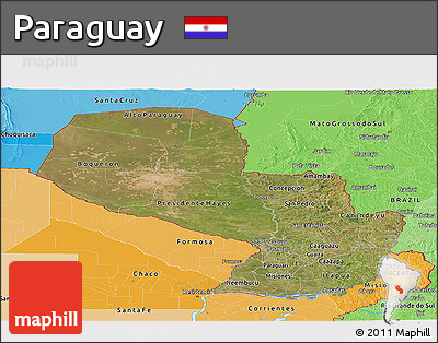 Satellite Panoramic Map of Paraguay, political shades outside