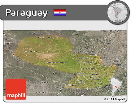 Satellite Panoramic Map of Paraguay, semi-desaturated