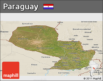 Satellite Panoramic Map of Paraguay, shaded relief outside