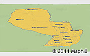 Savanna Style Panoramic Map of Paraguay, single color outside